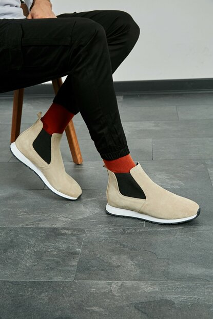 Men Cream Eva Sole Suede Boots 20KBO749E101