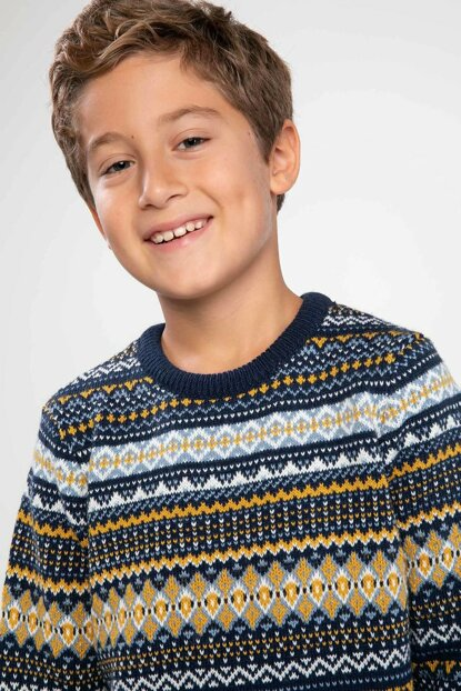 Navy Blue Young Man Ethnic Patterned Jacquard Sweater J4747A6.18WN.NV42