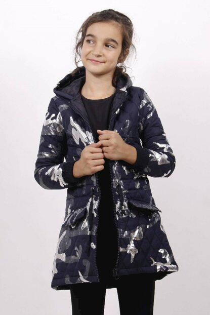 Girl's Coat with Waistband - Long - Navy Blue - 12 Years - 152cm Lenght 11772-
