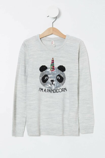Gray Girl Child Sequined Panda Printed Sweater K9522A6.19AU.GR210