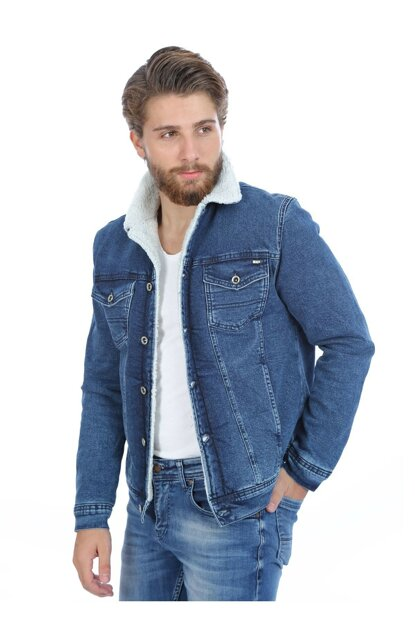 Denim jacket with fur inside - 111316