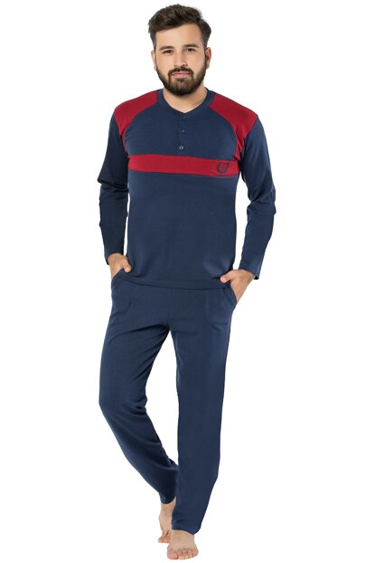 Men's Navy Blue Long Sleeve Pjama Suit Su0225 SU0225