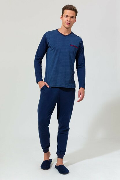Men's Navy Blue V-Neck Six Ribana Long Sleeve Pajama Set E0219K0011