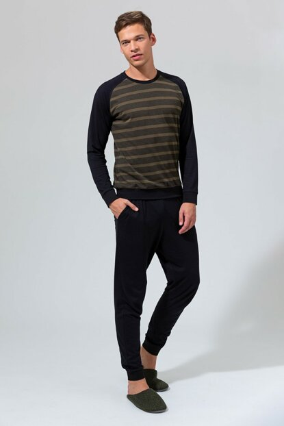 Men's Black Jacquard Six Single Jersey O Neck Six Ribana Long Sleeve Pajamas Set E0219K0036