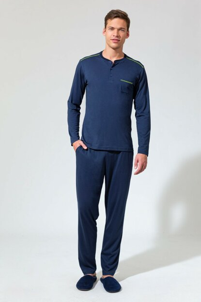 Men's Dark Blue O Patterned Long Sleeve Pajama Set E0219K0019