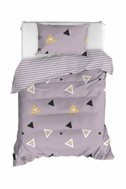 100% Natural Cotton Single Size Duvet Cover Set Erois Lilac Ep-020301