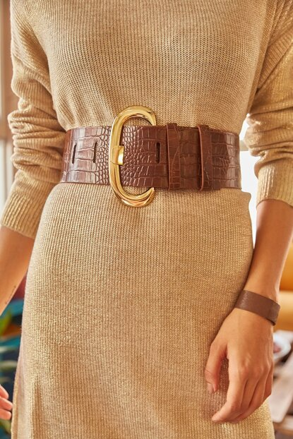 Women's Thick Buckle Faux Leather Belt KMR-19000025