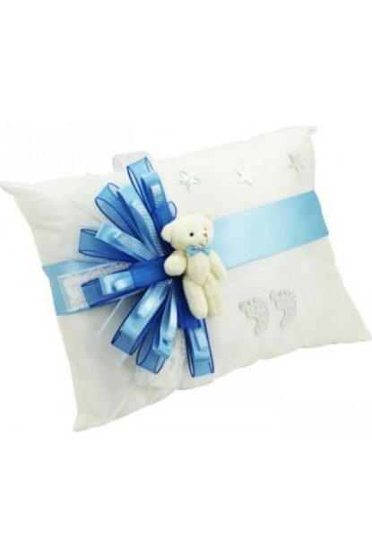 Plush Teddy Bear Rectangle Ornate Name Baby Jewelry Pillow Blue ARM-TYB1441