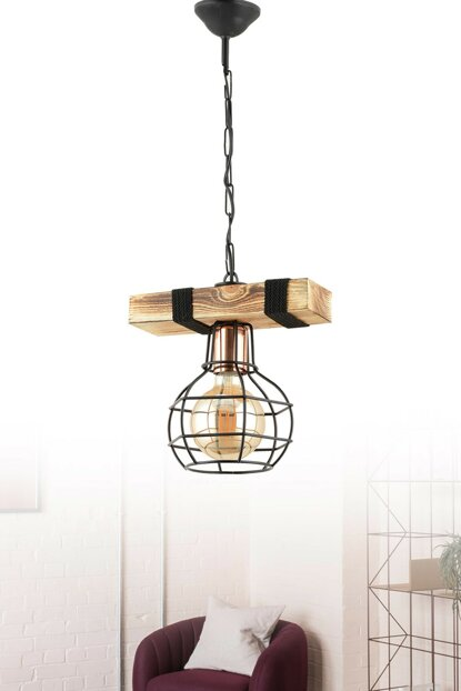 Bois Single Wood-Metal Pendant Lamp ASY256