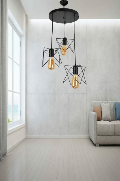 Ayça 3 Piece Pendant Lamp Black Chandelier 603 0217 13 099
