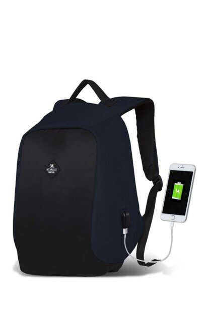 My Valice Smart Bag Secret Usb Charging Port Smart Backpack Navy Blue / MV2423