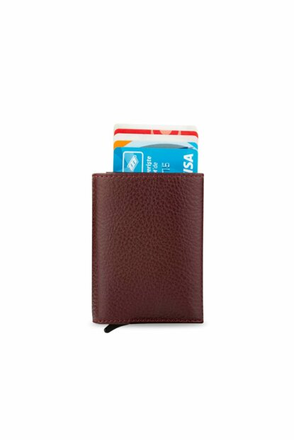 Men's Automatic Mechanism Smart Wallet Leather Wallet Bordeaux 5237Tek 5237TEK
