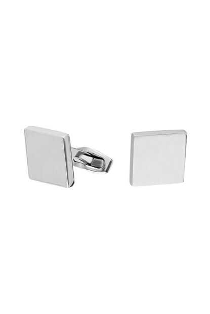 Bright Gray Square Steel Cufflink dy83by ehy-dy83by
