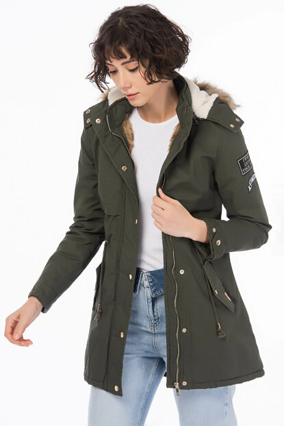 Women's Green Faux Fur Coat Removable Hooded Waist Drawstring Thick Coat 5325