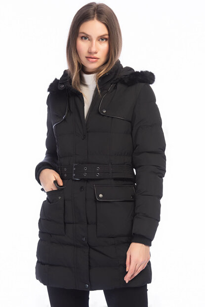 Women's Black Faux Fur Removable Hooded Belt Thick Coat 5295