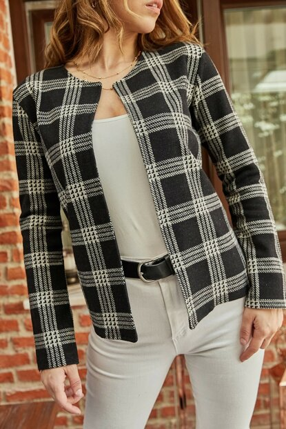 Women's Black Plaid Jacket 9KXK4-42272-02