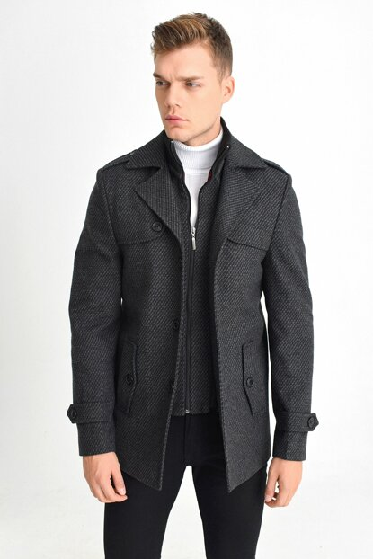Men's Anthracite Wool Blended Pattern Stamp Removable Zipper Closure Comfortable Mold Coat 9410