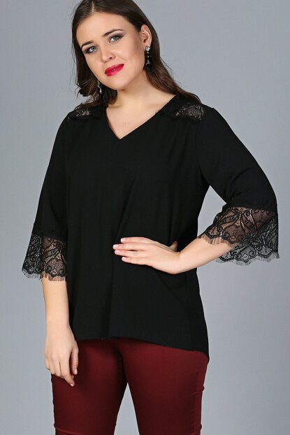 Women Black Shoulder And Sleeve Lace Blouse M9318