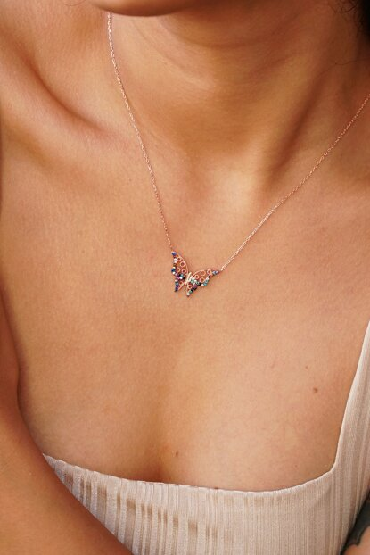 Women's 925 Sterling Silver Butterfly Figured Mix Cubic Zirconia Necklace AEJLPZ361
