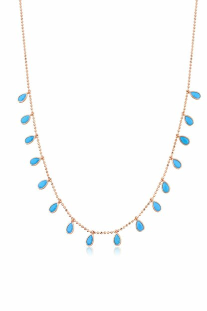 Women's Rose 925 Sterling Silver Turquoise Cubic Zirconia Drop Necklace MA_KL_1110