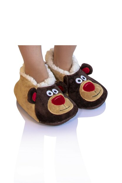 Brown Unisex Children Animal Slipper NN0546