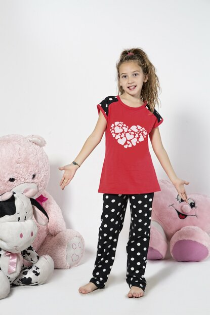 Girls' Patterned Cotton Lycra Sleepwear Suit 19110637