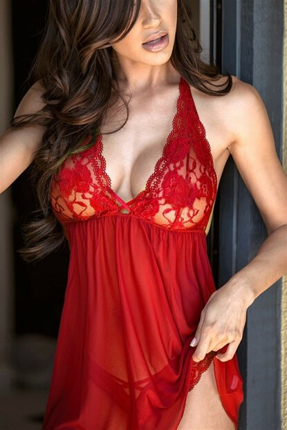 Women's Red Transparent Nightdress GYMX31014-3