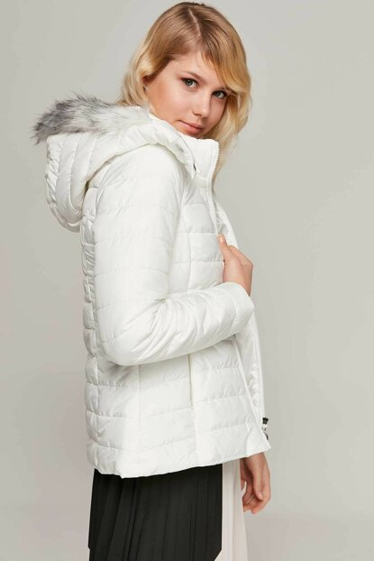 Women's White Hooded Furry Inflatable Coats 5083 Y19W110-5083