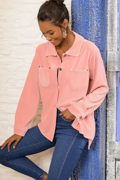 Women Pink Double Pocket Velvet Shirt DNZ-3069