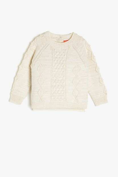 Ecru Child Braided Sweater 0KMG99335HT