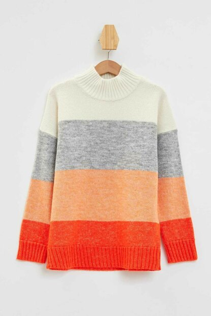 Relax Fit Color Block Sweater L3856A6.19AU.RD44