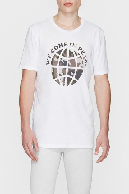 Men's Peace Printed White T-Shirt 065447-620