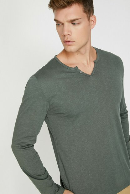 Men's Green Button Detailed T-Shirt 0KAM14751OK