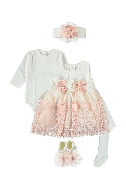 Laced, Baby Girl 5 Piece Dress Seasonality Suit, Wedding, Henna Gown Salmon 0-6 Months PS332