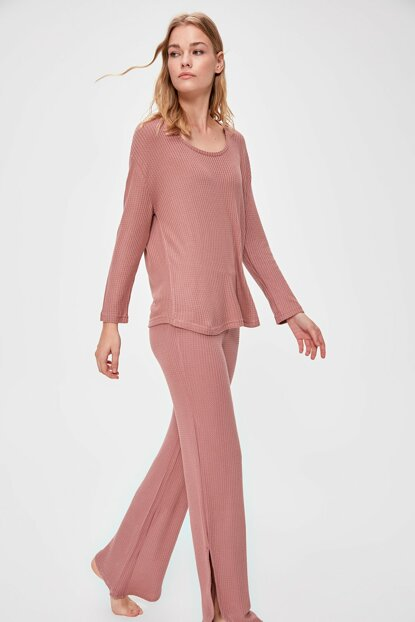 Rose Dried Textured Pajamas Set THMAW20PT0224 THMAW20PT0221