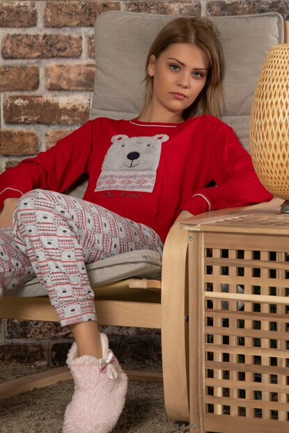 Women's Red Cotton Welsoft Embroidered Long Sleeve Interlock Sleepwear Suit 22014