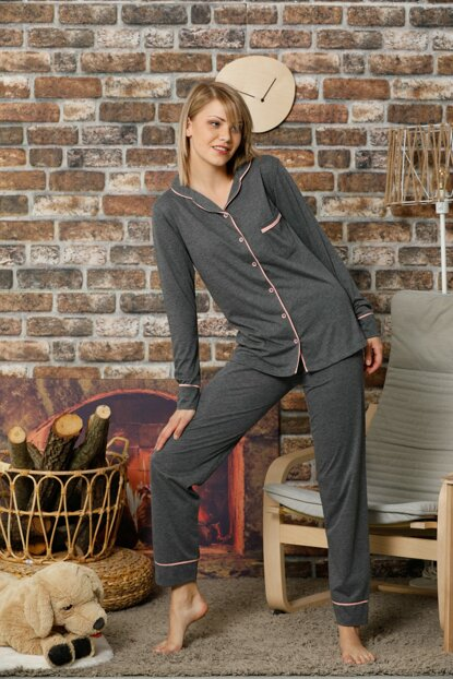 Women's Anthracite Buttoned Long Sleeve Cotton Lycra Sleepwear Set 2259S