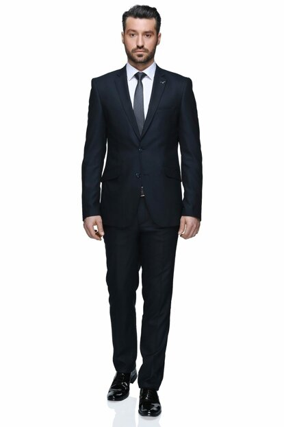 Fernando Mono Tk Yrt 8 Drop Slim Fit Suit - Navy Blue - 3B5M0413D014