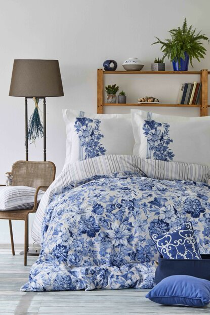 Melanie Blue Rnf Double Duvet Cover and Pillowcase Set 201.15.01.0040
