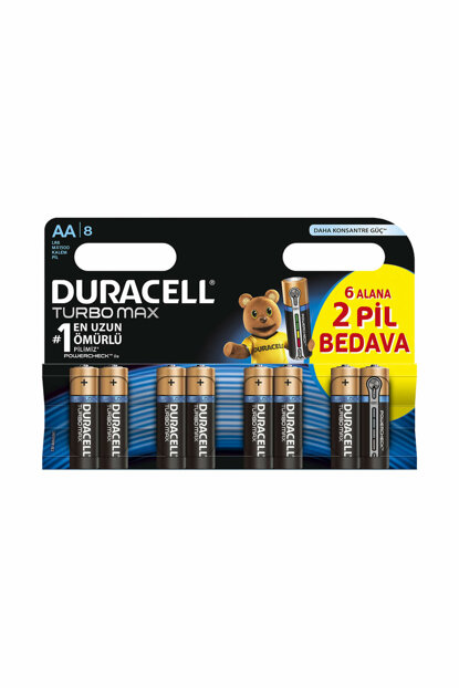 Turbo Max AA Batteries, pack of 8 DUR-129856