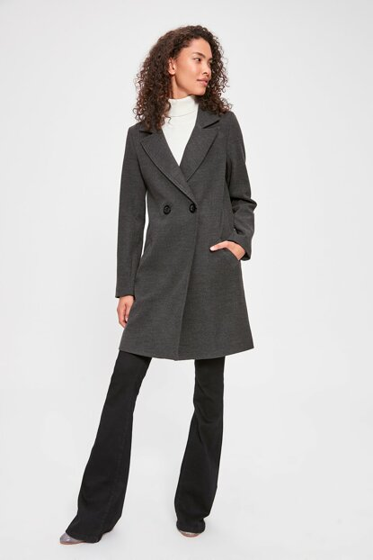 Anthracite Long Double Breasted Stamp Coat TWOAW20KB0118