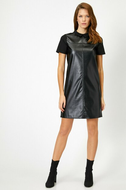 Women Black Leather Look Dress 0KAK86153IK