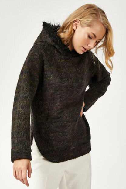 Women's Mix Flecked Hooded Knitted Tunic BL00102
