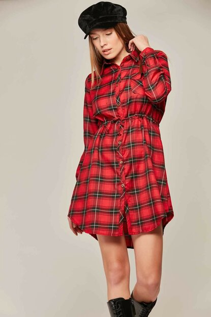 Women Red Plaid Pattern Articulated Shirt Dress 5689 Y19W110-5689