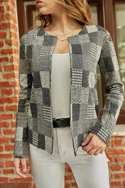Women's Gray Plaid Jacket 9KXK4-42271-03