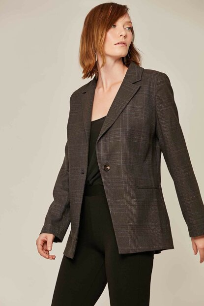 Women's Anthracite Plaid Pattern Silvery Coat 6306 Y19W109-6306