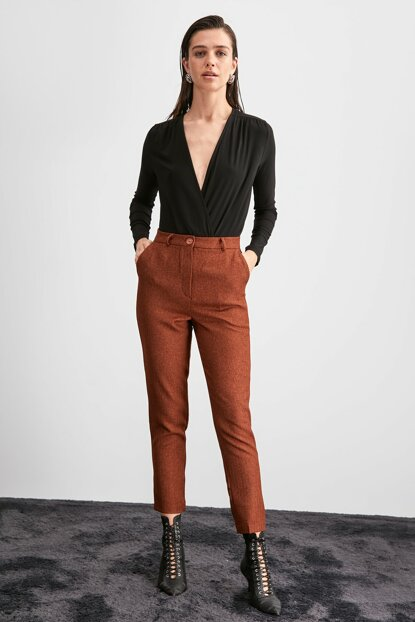 Brown Basic Trousers TWOAW20PL0631