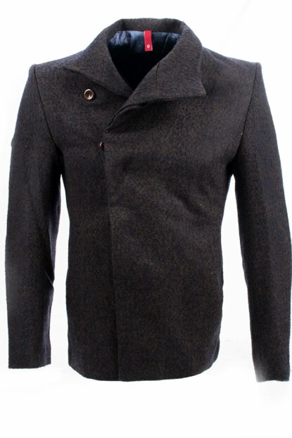 Men's Plum Flecked Shawl Collar Slimfit Coat - 7249