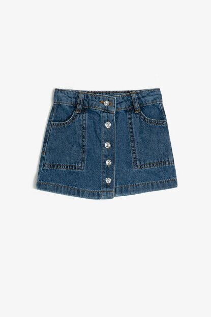 Blue Pocket Detail Jean Skirt 0YMG79475OD