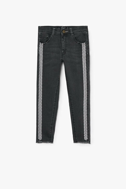 Black denim girls trousers 33080796